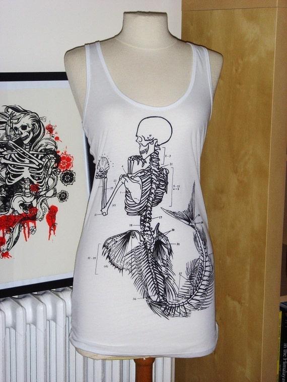 Mermaid Skeleton Vest \/ Tank - White - S\/M\/L\/XL