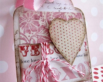 Wedding, Anniversary, Valentines day, Romance Love Hearts  - Red Polkadot Heart Gift Tag