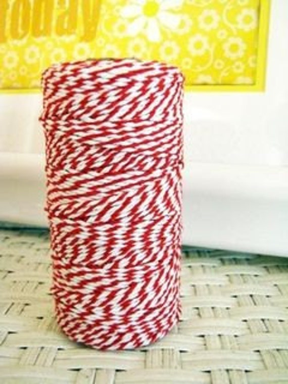 Red and White Bakers Twine 4 ply 100 metre roll, Wrapping, Gift Tags, Scrapbooking, party supplies