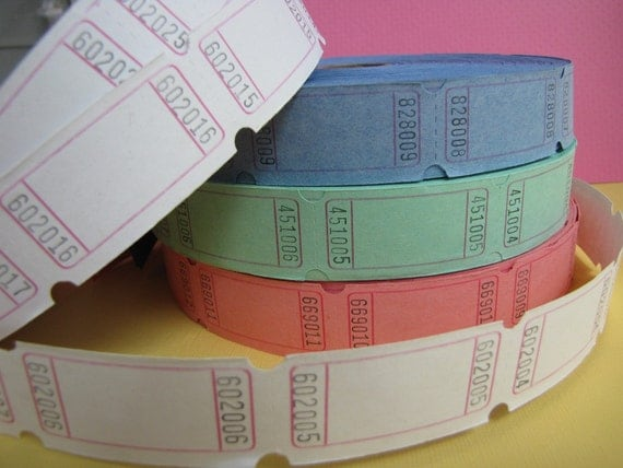 Carnival, Fair, Admission Tickets Multipack 48, Bright colours, pink, lime, blueberry, white