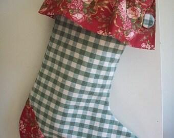 Unique Christmas Stocking Green  & White Check