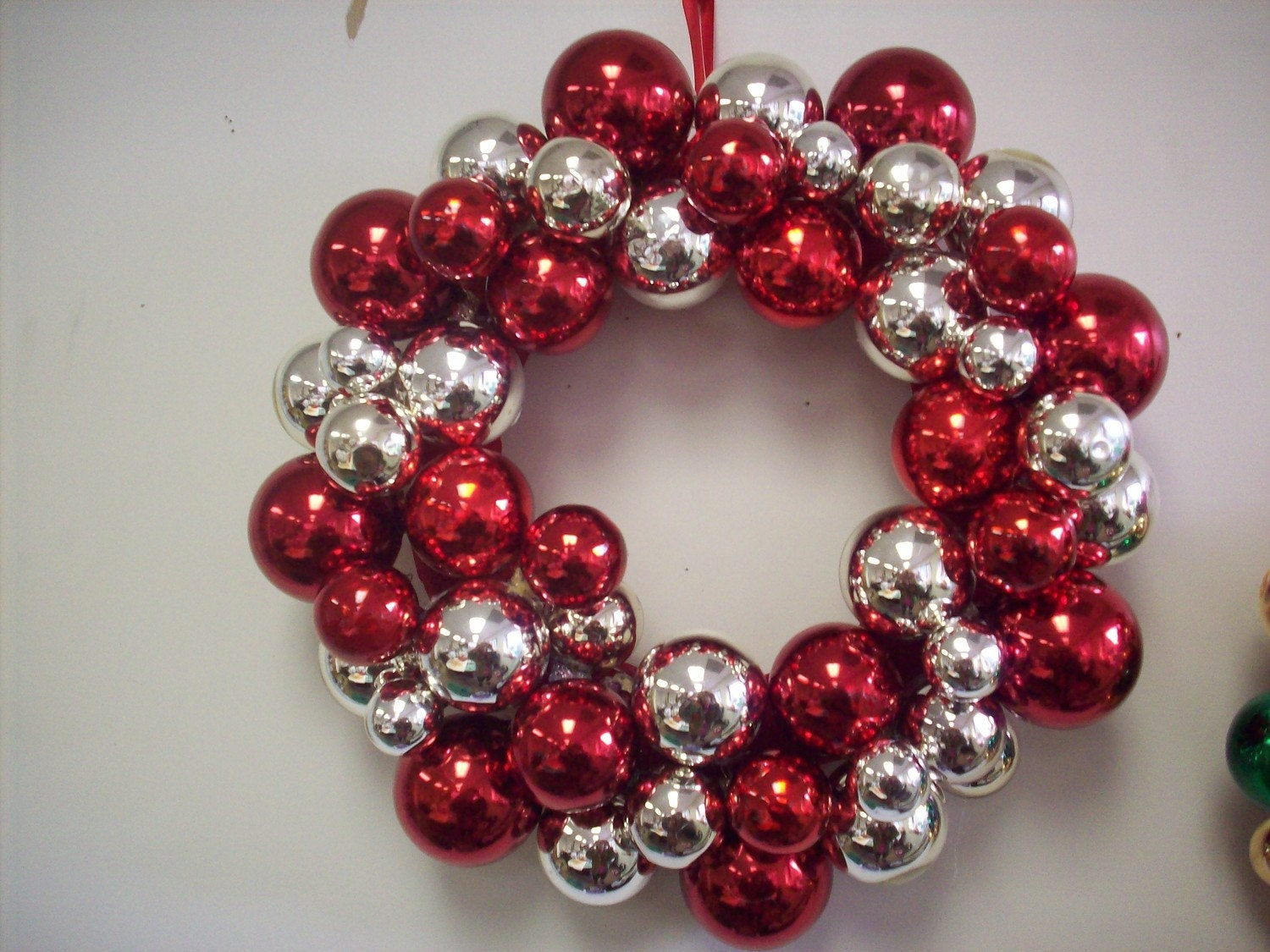 Christmas Red and Silver Ornament Wreath