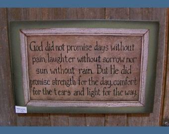 God's Promise, folk art design wood sign, inspirational qoute, encouragement gift, blessings by Laurie Sherrell