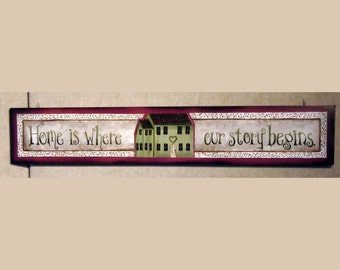 Home is where our story begins, wood sign, family sign, home decor, folk art sign, berry garland by artist laurie sherrell, art print