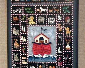New Lower Price!  Noah's Ark,  acrylic painting with pen and ink by folk artist, print, wood sign, faith signs, Laurie Sherrell