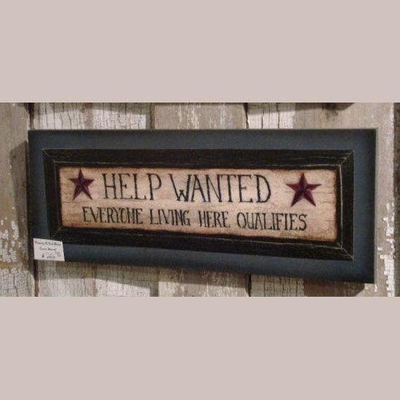Help wanted wood sign