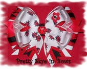 Large Stacked Tails Down Boutique Ladybug Lover's Hair Bow Clip