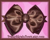 Hair Bow in A Fancy Brown Satin and Organza