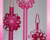 Hair Bow Holder with a Detachable Flower Loop Hair Bow Clip in Pink