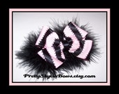 Boutique Hair Bow Clip in Black and Light Pink