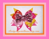 Layered Boutique Hair Bow Clip in Polka Dots and Sequin