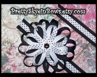 Hair Bow Holder with Detachable Flower Loop Hair Bow Clip in Black and White