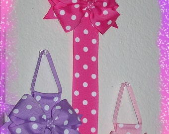 Polka Dot Hair Bow Holder with a Matching Detachable Hair Bow Clip Choose Your Favorite Color