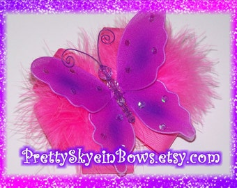 Boutique Butterfly Hair Bow Clip in Purple and Hot Pink