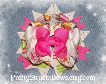 Large Twisted Boutique Hair Bow Clip in Cupcakes and Hot Pink