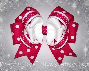 Stacked Layered Boutique Hair Bow Clip in Fuchsia and White