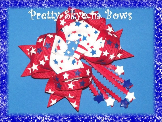 Large Boutique Stacked Patriotic Stars Hair Bow Clip