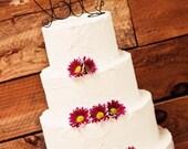 Fresh Flower Love Wedding Cake Topper Rustic Elegant Whimsical Bud Vase Engagement Romantic Fresh Flowers