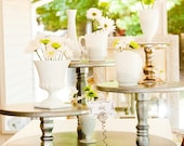 Cake Stand Rustic Silver Wedding Party or Catering Centerpiece Vintage Shabby Chic or Cupcake Stand Cake Stand Country