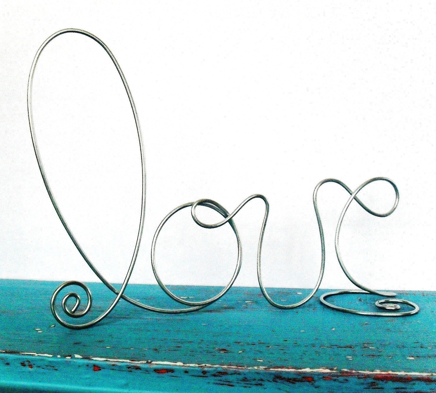 Silver Wire LOVE wedding decorations wedding cake toppers