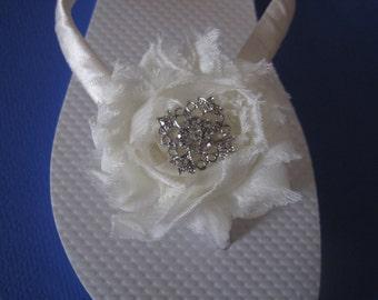 So Sweet Bride Harper Shabby Chic  Rosette Bridal Wedding Flip Flops