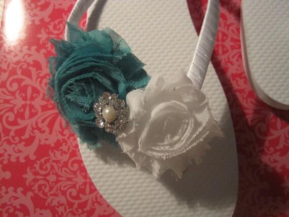 So Sweet Bride Melanie Shabby Chic Double Rosette Bridal Wedding Flip Flops