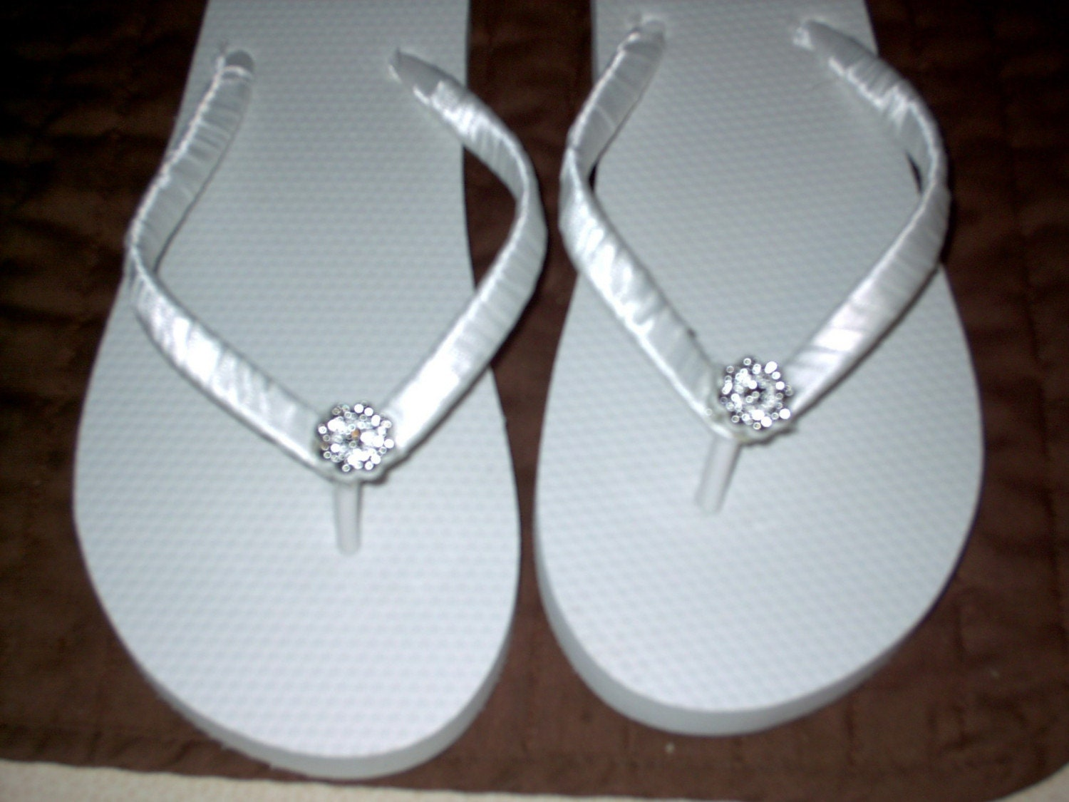 beach bride bridal flip flops embellished satin ribbon with