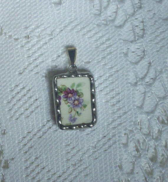 Lavender Flowers Broken China Pendant
