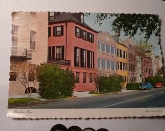 vintage CHARLESTON postcard RAINBOW ROW
