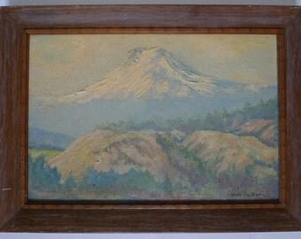 mount hood vintage signed oil painting   Oscar Hukari original oil painting  1940s American Impressionist