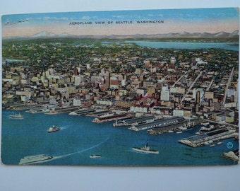 antique Seattle 1938 skyline  postcard