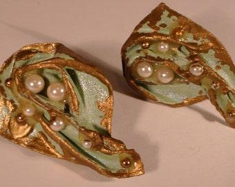 mermaid earrings  vintage handmade 1980s  .clip on costume