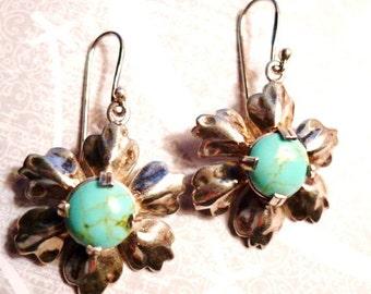 vintage sterling silver thailand dangle flower vintage earrings