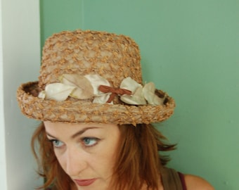 RESERVED soft brown vintage hat with leaves 1950s