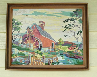 vintage paint by number  art the old grist mill 1950s