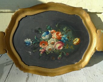 vintage italian tray tole floral tray   golden antique 1950s