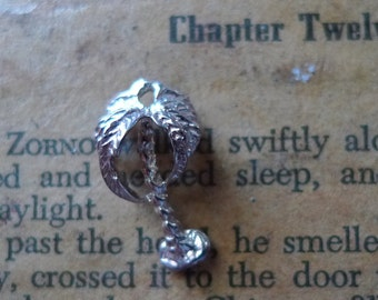 vintage sterling silver charm 1980s palm tree
