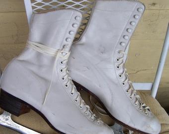 vintage ice skates  classic white leather Hyde Dart