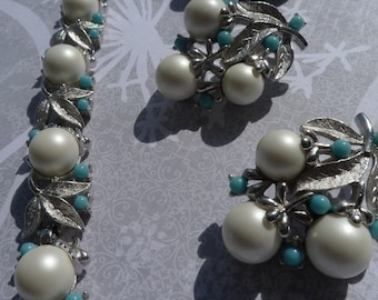 vintage sarah coventary demi parure pearl blue silver 1950s