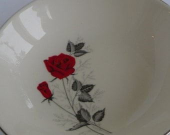 blood red  roses vintage 1950s silver white china white bowl