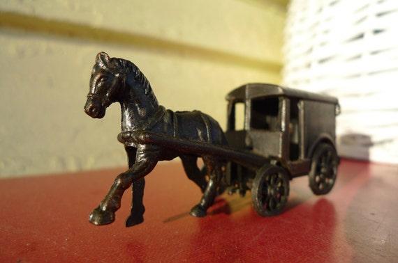 vintage metal pencil sharpener horse and buggy