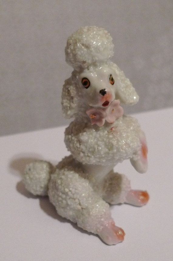 Pinky Porcelain Poodle Figurine Made In Japan 1950s By