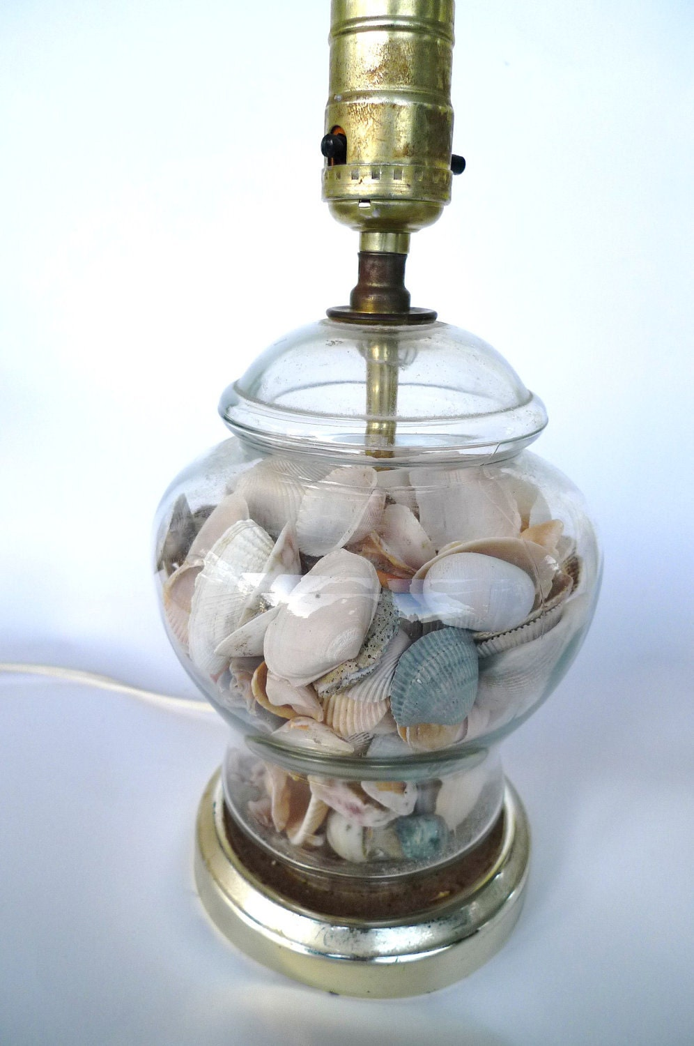 Vintage Seashell Lamp Glass Fill Able 80s Table Lamp