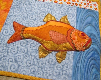 Art Quilts , FISH, Lot of 2 Quilts, Textile Art, Wall Hanging, Embroidery, OOAK, Art Quilts