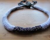 Purple Stargazer Headband - Hand Knit Angora