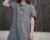 Back to school French blouse, dark grey linen, white stripes 5T