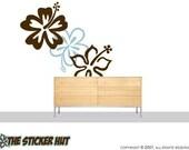 3 Large Hibiscus Flowers Stickers Decals Vinyl Graphics Decor