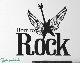 Born to Rock with Guitar Wings - Home Decor - Bedroom Decor - Vinyl Decals - Vinyl Lettering Vinyl Wall Art Graphics Decals Stickers 964