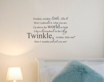 Twinkle Twinkle Little Star Vinyl Wall Art Text Lettering Quotes Words Decals Stickers 1008