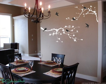 2 Cherry Blossom Branch 6 Birds Vinyl Wall Art Graphics Decals Stickers 1033